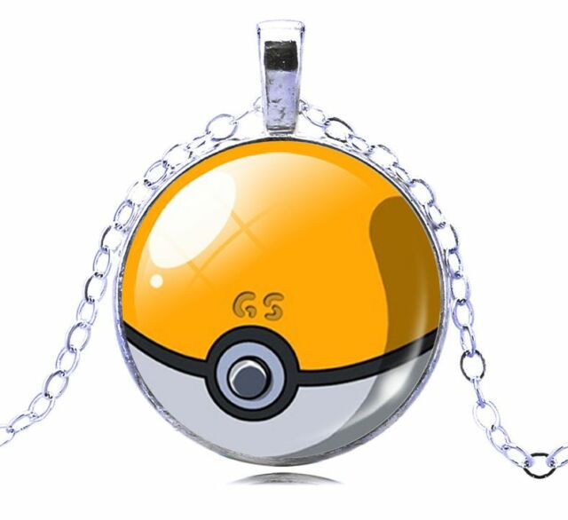 Pokemon Go Yellow Glass White Gold GP Pokeball Necklace N122