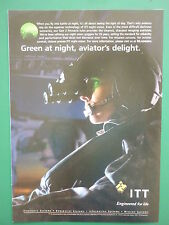6/2011 PUB ITT NIGHT VISION CASQUE PILOT HELICOPTER GEN 3 PINNACLE ORIGINAL AD