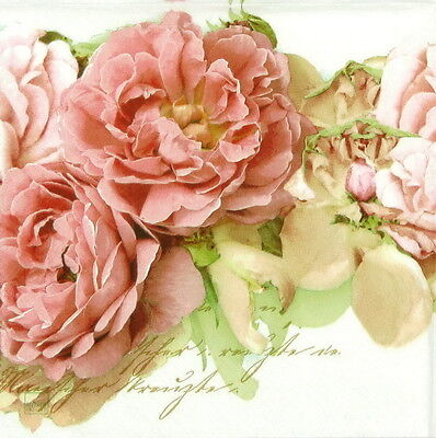 4x Vintage Mary Roses Paper Napkins for Decoupage Decopatch