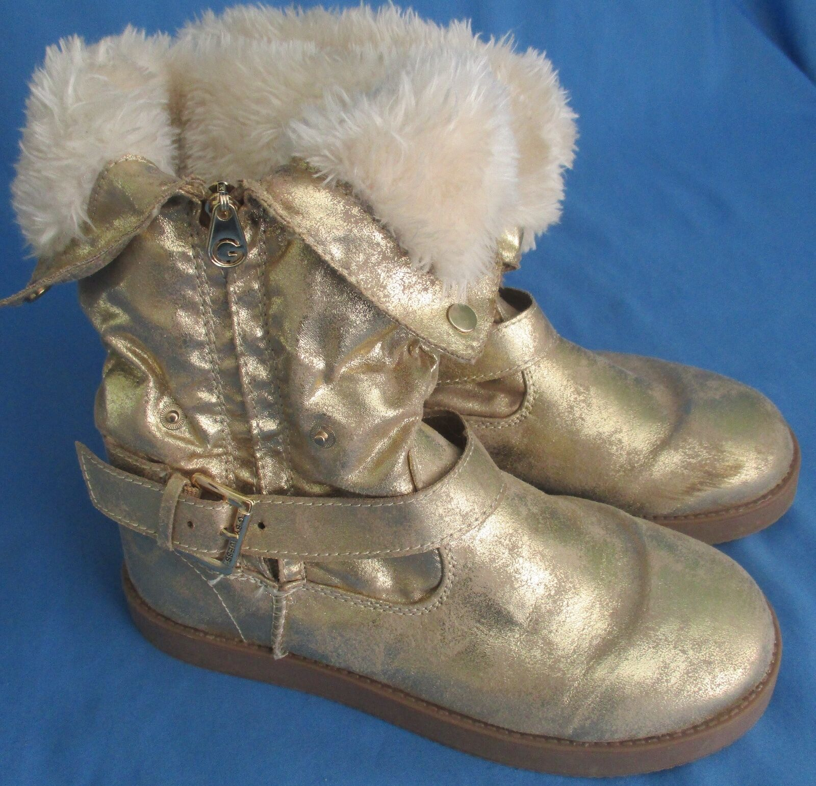 Women's G by Guess Gold Boots Size 7M Faux Fur Lined