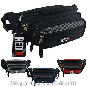 NEW-Unisex-Canvas-LARGE-BUM-BAG-by-RED-X-Travel-Fanny-Pack-Waist-7-Pockets-Black