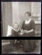 PLAQUE VERRE PHOTO NEGATIF circa.1914 MERE ET FILS mother & son  (B30)