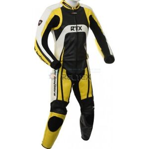 RTX-Raptor-Yellow-amp-White-Motorcycle-LEATHER-Jacket-Trouser-Pant-2-Pc-Biker-SUIT
