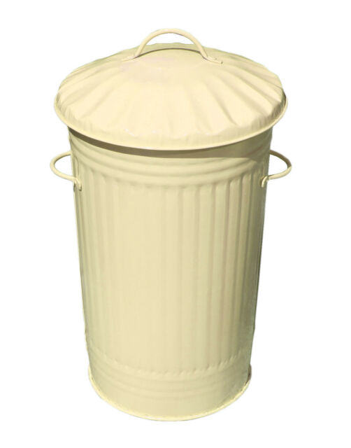 46l Cream Galvanised Metal Steel Kitchen Bin Slim Retro Rubbish Waste Dustbin