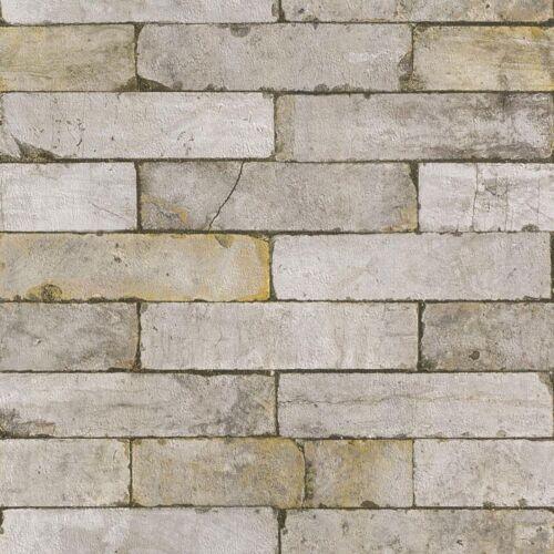 Kids Teen Beige Grey Rustic Brick Effect Wallpaper 203608