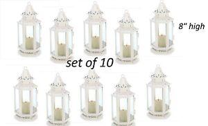 24 White Victorian shabby whitewashed Lantern Candle holder wedding centerpiece