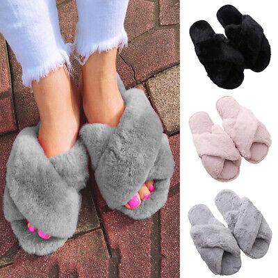 Womens Cross Over Style Furry Warm Comfort Open Toe Ladies Slip On Mules Slipper