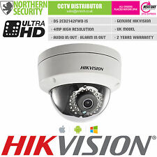 UK HIKVISION 2.8mm 4MP 2MP 1080P Dome Audio IR Onvif WDR Network IP CCTV Camera