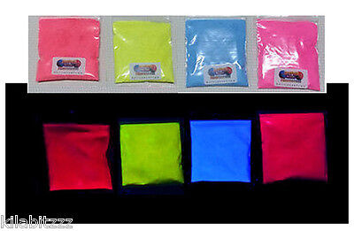 Set of Fluorescent neon Ultraviolet UV blacklight glow powder. 4 + more colours