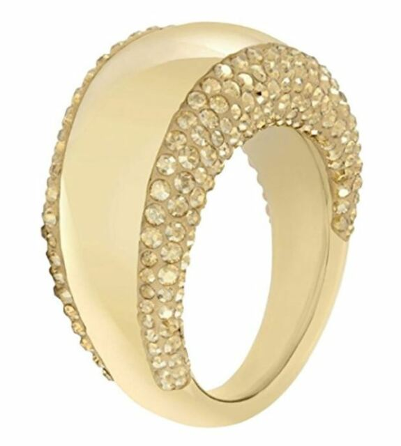 2327b4463c282 NIB $149 SWAROVSKI PEBBLE RING GOLD Metal Gold CRYSTALS Size 55 58