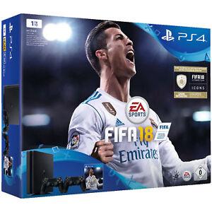 SONY-PlayStation-4-1-TB-Schwarz-FIFA-18-2-DualShock4-Controller-NEU-amp-OVP