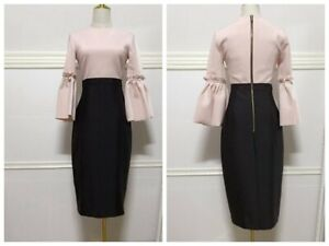 Special-Price-AUTH-Ted-Baker-3-4-Ruffle-Sleeve-Bodycon-Dress-Pink-Black-0-5