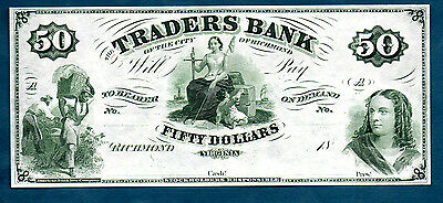 USA TRADERS BANK 1860,s NICE 20 DOLLARS RICHMOND VA