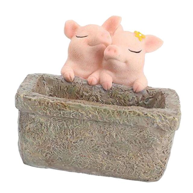 Cute Fairy Garden Miniature Mini Resin Pig Ornament Flowerpot Home Decor Art