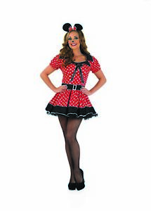 8b6b45ca5 Deluxe Womens Minnie Mouse Costume Ladies Red Polka Dot Fancy Dress ...