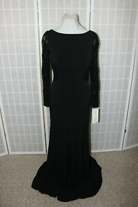 NWT Size 8 Mon Cheri 114674 Black lace & jersey long sleeved formal evening gown
