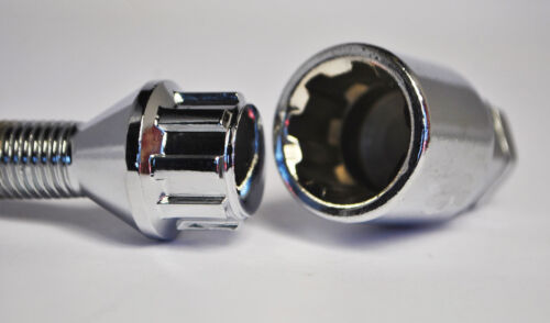 Silver 42mm Thread 20 x M12 x 1.5 Tapered Wheel Bolts And Lockers ...