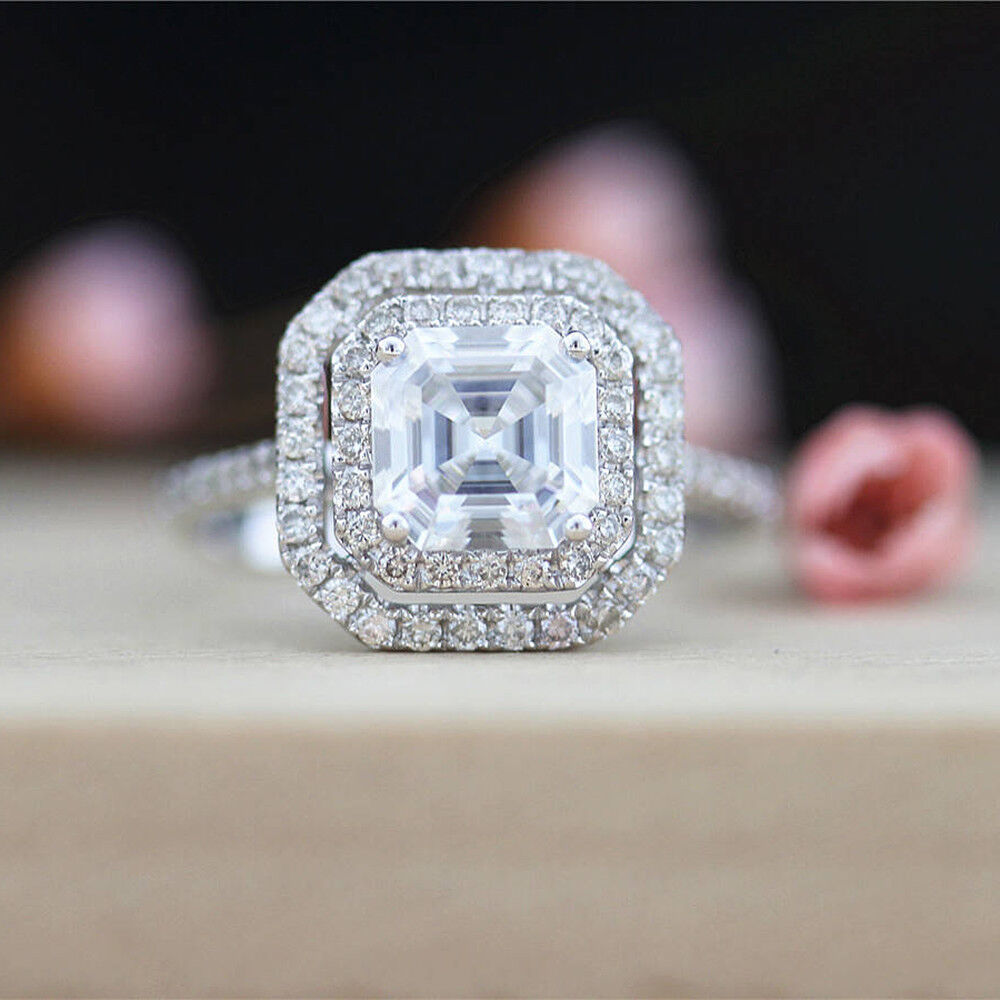 3Ct Asscher Moissanite Tests Positive Grown Diamond White gold Engagement Ring