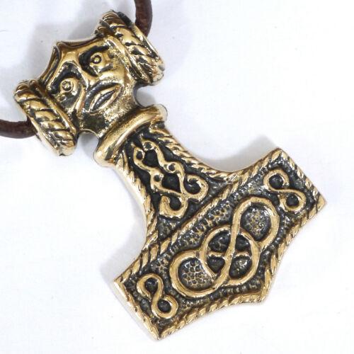 900 n.Chr Lederschnur Wikinger Thorhammer Bronze nach Original ca