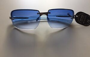 4f2c22382a Image is loading Vintage-90s-2000s-Blue-Tinted-Gradient-Sunglasses -Rectangular-