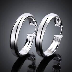 Womens-18K-White-Gold-Plated-Round-Shaped-Pierced-Hoop-Earrings-E74