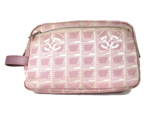 4c83ad3bf329c0 Auth CHANEL Travel line Canvas, Leather Pouch Accessories Clutch Bag CP9302L