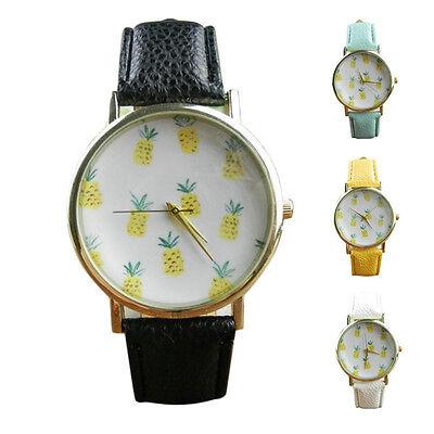 Geneva Women fashion Wrist Watch Pineapple Leather Analog Quartz Vogue Watch hot