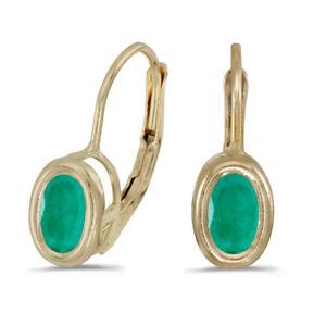 14k-Yellow-Gold-Oval-Emerald-Bezel-Lever-back-Earrings