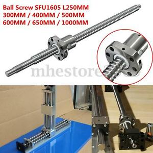 Ball Screw C7/SFU1605 L250/300/400/500/600/650/1000MM w/ Single Ballnut For CNC