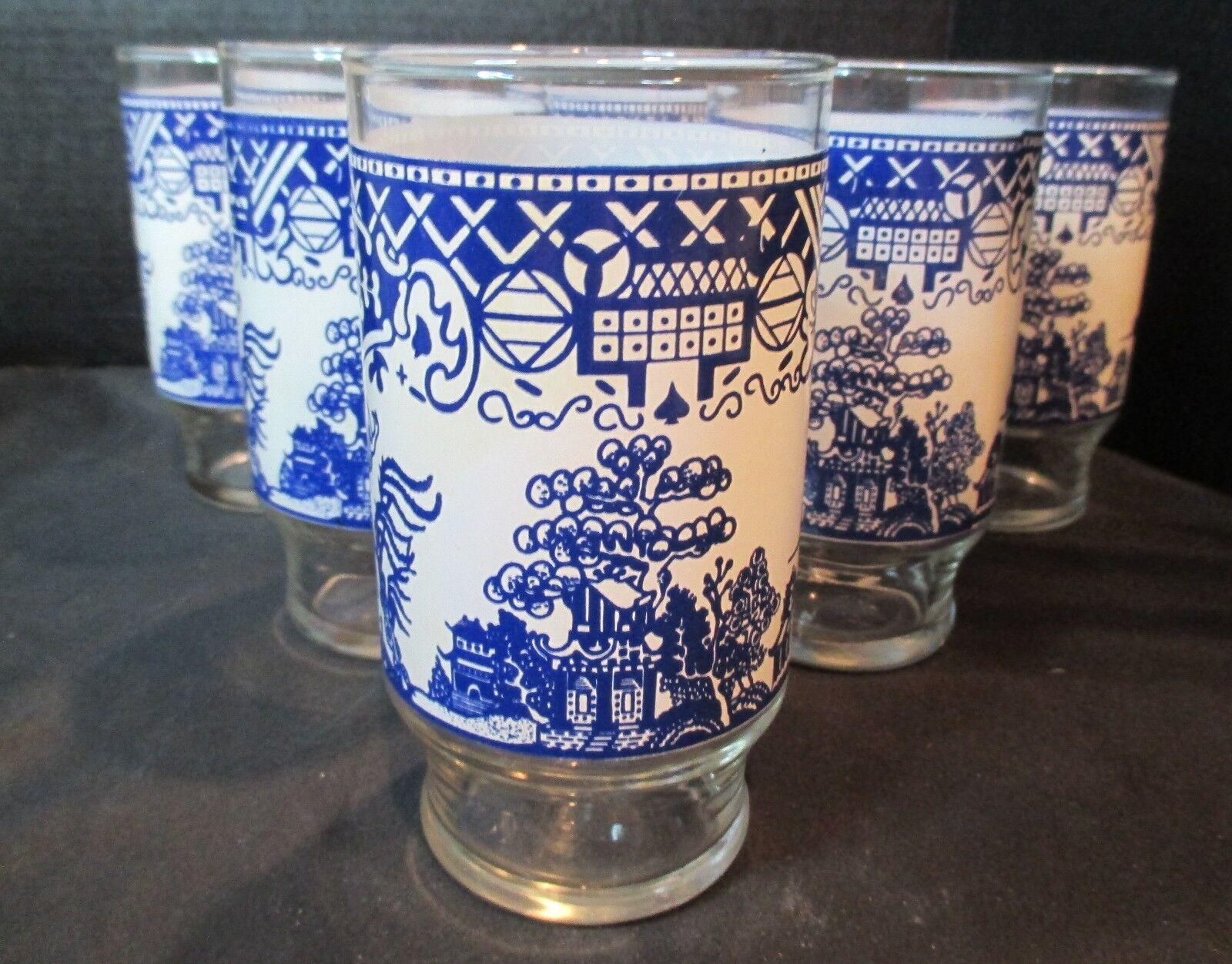 bleu Willow Set de 6 vintage verres à eau 5 1 4  de haut et détient 12 oz (environ 340.19 g)