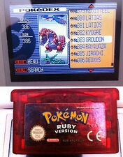 GENUINE POKEMON RUBY WITH ALL 386 SHINY UNLOCKED GBA GAMEBOY ADVANCE SAPPHIRE