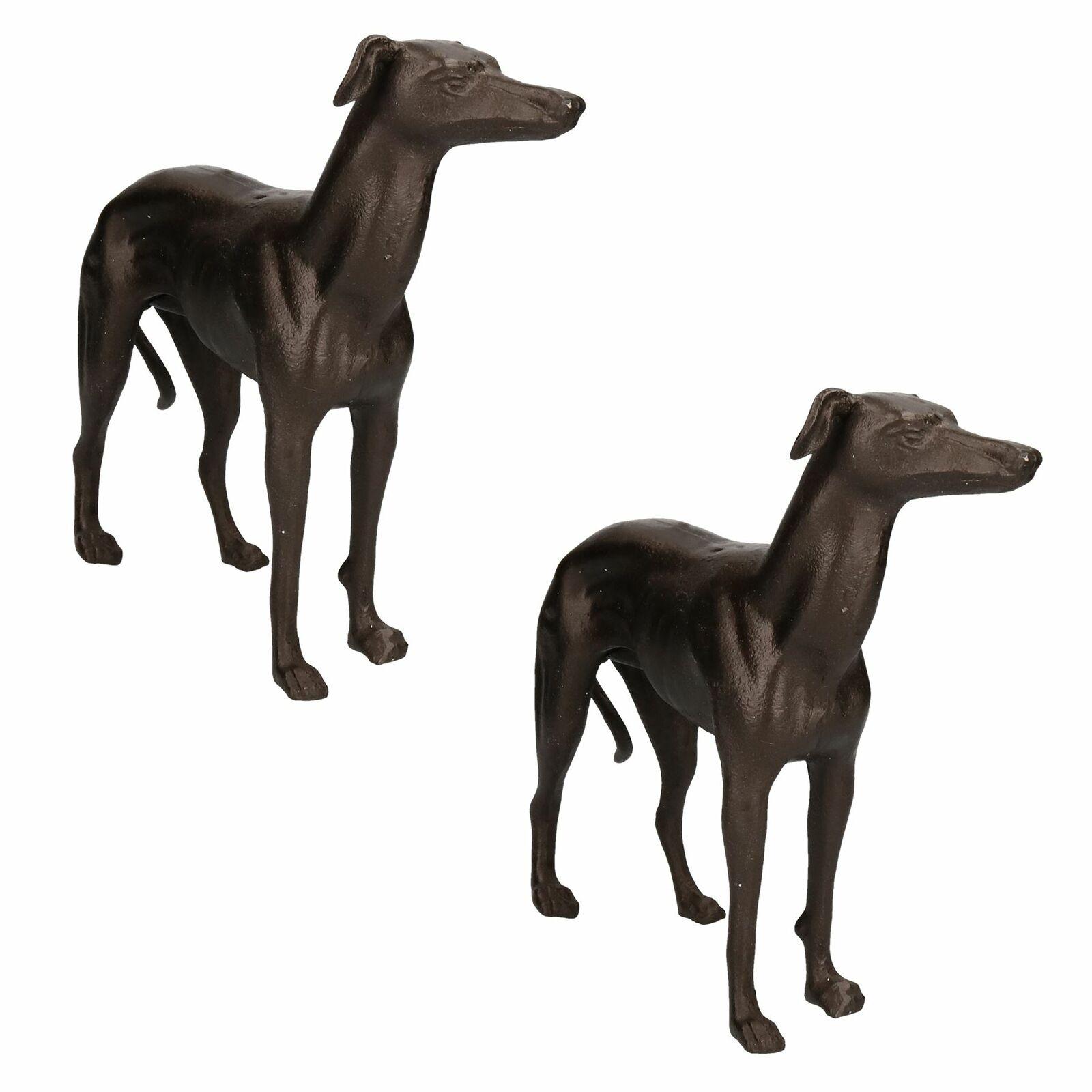 Galgo Whippet Perro de Hierro Fundido Estatua Figura Trofeo Ornamento Escultura Par