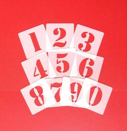 Zahlenschablone Zahlen 3cm hoch Nr.5  ● Set mit 10 einzelnen Schablonen von 0-9