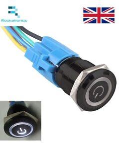 16mm-12V-Plastica-a-Scatto-LED-Angel-Interruttore-Pulsante-Opzionale-Supporto
