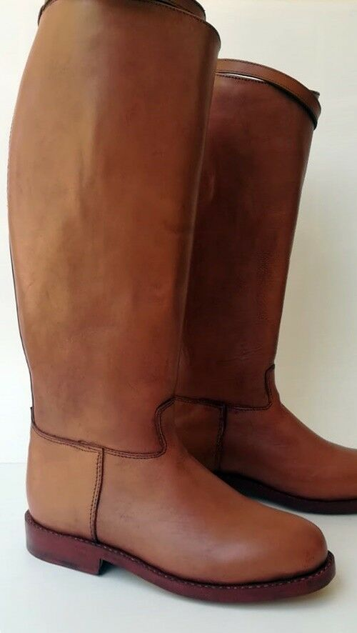 Men Handmade Tall Mounted Police Biker  Riding Boot with All Leather