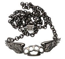 Flying Knux Brass Knuckles Pendant Chain Necklace Gun Metal Kitsch 'n' Kouture