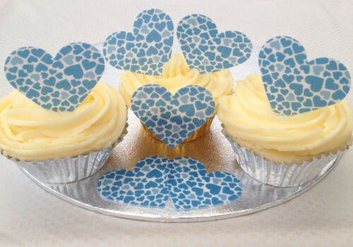 12 Blue Hearts Pattern Valentines Day Wafer Rice Paper Heart Cupcake Bun Toppers