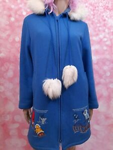 Made in Canada. Vintage Northern Sun point blanket wool parka with genuine silver tipped white fox fur trim and embroidered duck motifs