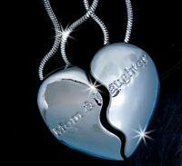 Mother & Daughter Heart Silvertone 2 Pendants 2 Necklaces Mother's Day Love Mom