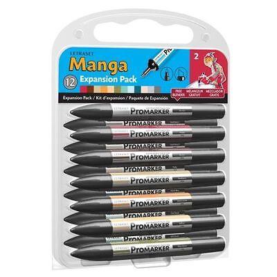 Letraset Promarker - Manga Expansion Pack 2 (12 colours + Blender) - MEP2