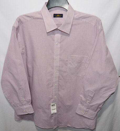 Club Room Regular Fit Claret Small Check Cotton Dress Shirt 16 1//2 17 1//2 32//33