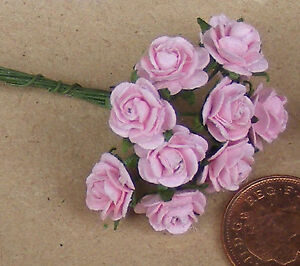 1-12-Scale-Single-Bunch-10-Flowers-Of-Pink-Paper-Roses-Tumdee-Dolls-House-K