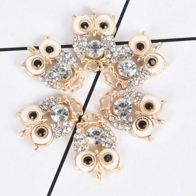 10Pcs/Set Alloy Crystal Owl Charms Pendant Jewelry Findings DIY Making Craft $l