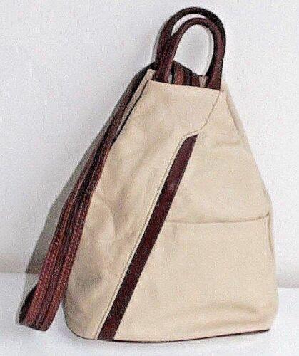 con tracolla Borsa italiana in cinturino chiaro beige regolabile Vera Pelle a pelle marrone g4qgA8w1