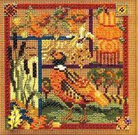 "Mill Hill Buttons Beads Cross Stitch Kit 5"" x 5"" ~ PHEASANT SAMPLER #149203 Sale"