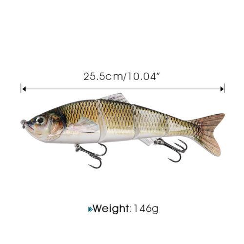 25.5cm Life-like Fishing Lure 4 Segment Multi Jointed 2 Hook Hard Bait Crankbait