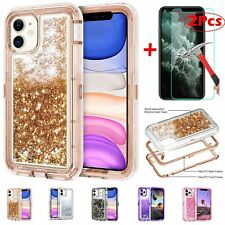 For iPhone 11,11 Pro Max Defender Sparkly Liquid Glitter Case+Screen Protector