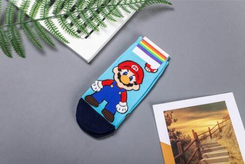 Super Mario Ankle Trainer Socks Cute Fun Cartoon UK Seller