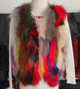 Femmes manteau Sz chaud fourrure sans mince fausse multicolores air vestes manches en gilet plein rfWq6prZ