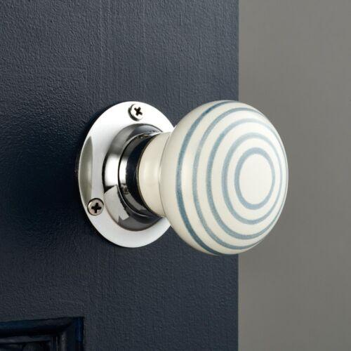 Paire Moderne Gris Blanc à rayures en céramique à Mortaise Interne Tournant Porte Knob P105